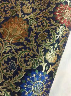 OFF Navy blue and gold 100 Percent pure silk brocade fat quarter in an elegant floral design/Indian silk sari fat quarter 100 Percent Pure, Machine Embroidery Thread, Cushion Ring, Silk Brocade, Dress Hats, Hat Making, Pure Silk, Cushion Covers, Soft Fabrics