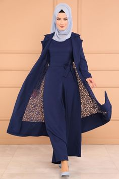 KOMBİN Dantelli 2 Li Tulum Kombin İndigo - Jumpsuits and Romper Indian Fashion Dresses, Modest Fashion Hijab, Muslim Women Fashion, Abaya Fashion, Fashion Outfits, Estilo Abaya, Velvet Dress Designs, Hijab Style Dress, Batik Fashion