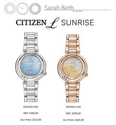Some of our best selling watches from last year are starting to pick up again; have you got yours?!  The Citizen L Sunrise is a beautiful, unusual watch with a Mother of Pearl Dial and Diamonds.  We currently have these two models in stock, the silver version, and the rose gold version! We are getting the other's in stock soon too! 'Watch' this space!