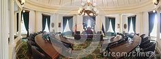 Photo about A panorama of the Vermont Senate room empty. Image of state, room, elected - 76386686