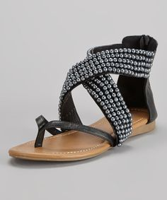 Take a look at this Black Erica Embellished Gladiator Sandal by French Kiss on #zulily today!