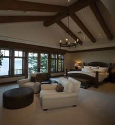 Brilliant Rustic Interior Design with Elegant Touch: Wonderful Classic Attics Bedroom  With Sitting Area Mountain & Lakeside Living