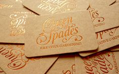 The Queen of Spades aka Katie Rushworth is a garden designer and the star of Alan Titchmarsh's new TV show Love Your Garden. The Queen of Spades has been transformed into a strong and clear brand reflecting her love of what she does. The outcome was a mix of an elegant logo design, with embossed copper foil, paired with Cairn uncoated, textured board at 1000mic.
