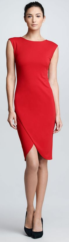 Cap-Sleeve Envelope Dress, Rouge by Ralph Lauren Black Label at Neiman Marcus. Red Fashion, Fashion Dresses, Womens Fashion, Style Work, Dress Skirt, Dress Up, Traje Casual, Little Red Dress, Ralph Lauren