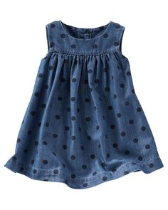 Crafted in on-trend chambray with an allover polka dot print, this dress gives her summer-worthy style! Just add sandals and she's set.