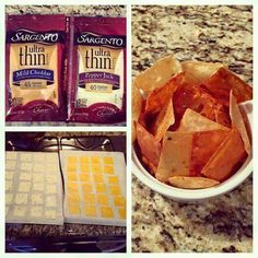 """I loves Cheezit Crackers, BUT, they are high in salt and carbs. From now on, this is my new snack :)  ... so easy...  Healthier and low carbs!!!! REAL """"Cheese-Its"""" Cut each slice into 4 pieces....bake on parchment paper...35 minutes at 250"""