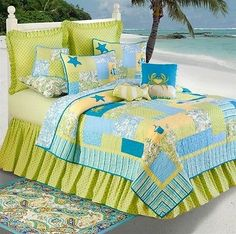 Tropical Twin Beach Quilt Set 4 pc Paisley Yellow Aqua Lime White NEW