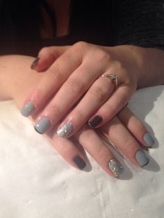 3 shades of grey with LOTS of sparkle!! Gels by me