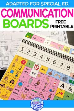 Free communication boards for students with disabilities including autism. Great ideas on where to get visual supports and free printables for kids and adult students who need picture support or low-tech AAC systems. Communication Activities, Communication Boards, Speech Therapy Activities, Sensory Activities, Folder Games, File Folder, Teachers Aide, Preschool Special Education, Board For Kids