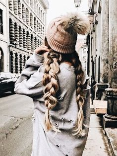 Beauty ~ Dirty Blonde Dutch Braid Pigtails with Brown Beanie ♡ My Hairstyle, Pretty Hairstyles, Braided Hairstyles, Beanie Hairstyles, Hairstyle Ideas, Short Hairstyles, Updo, Dutch Pigtail Braids, Braided Pigtails