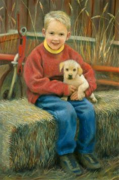 Pastel portrait commission, detail of the art, by Nancy Lee Moran, boy, Labrador Retriever puppy dog, hay bale, Nebraska farm USA, autumn colors...