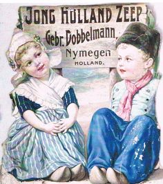 Holland girl and boy - Vintage ad, Dobbelman. Vintage Advertising Posters, Advertising Signs, Vintage Travel Posters, Vintage Advertisements, Poster Vintage, Vintage Labels, Vintage Ephemera, Vintage Postcards, Vintage Ads