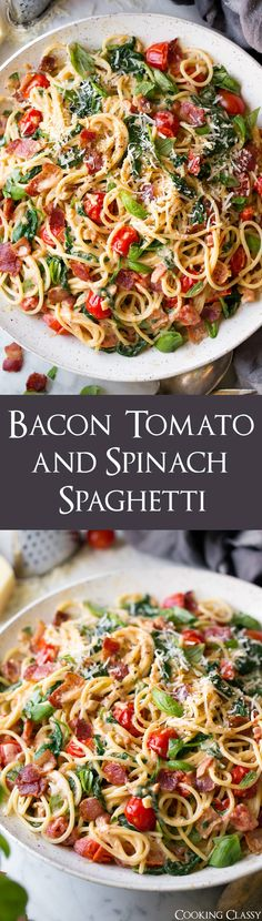 A creamy, hearty spaghetti dish that's sure to satisfy. Loaded with plenty of bacon, spinach and tomatoes to create a delicious flavor combination.