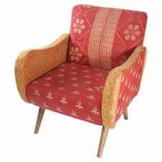 "Add a pop of style to your living room seating group with this whimsical arm chair, featuring a midcentury-inspired silhouette and vintage upholstery.   Product: ChairConstruction Material: Mango wood, fabric, and foamColor: MultiFeatures: Upholstered with vintage kantha throwsDimensions: 33"" H x 27"" W x 28"" DCleaning and Care: Spot clean"