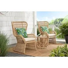 rattan armchair - Google Shopping Patio Lounge Chairs, Patio Seating, Outdoor Chairs, Beige Cushions, Green Cushions, Rattan Armchair, Wingback Chairs, Rattan Outdoor Furniture, World Market Outdoor Furniture