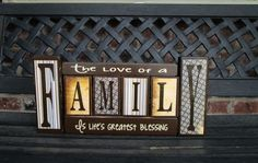 The love of a Family wood blocks by jjnewton on Etsy https://www.etsy.com/listing/163488815/the-love-of-a-family-wood-blocks