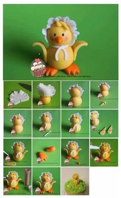 Easter Chick Topper Picture Tutorial - our Chefs are busy getting some FUN ideas for Easter! How to make a chick tutorial Cake Topper Tutorial, Fondant Tutorial, Fondant Cake Toppers, Fondant Cakes, Fondant People, Duck Cake, Decoration Patisserie, Fondant Animals, Bird Cakes