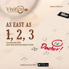 Book Your Doctor Online Now As Easy As 1, 2, 3,... Download the #visitdrapp on your #mobile and get close to the #doctors any time and from anywhere. Your doctor is with you all the time.