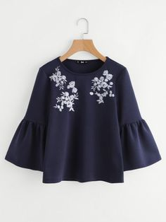 online shopping for Romwe Women's Cute Round Neck Embroidered Bell Sleeve Blouse Top from top store. See new offer for Romwe Women's Cute Round Neck Embroidered Bell Sleeve Blouse Top Hijab Fashion, Girl Fashion, Fashion Dresses, Womens Fashion, New Fashion Tops, Blouse Styles, Blouse Designs, Bluse Outfit, Trendy Outfits