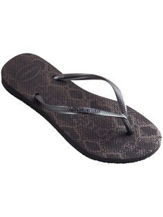 5d5cdf879327 Havaianas Women s Slim Animal Print Flips (Dark Brown  Gold)