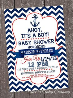 Chevron Nautical Baby Shower Invitations  by PaperMonkeyCompany, $1.00
