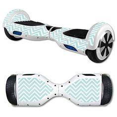 MightySkins Protective Vinyl Skin Decal for Hoverboard Self Balancing Scooter mini hover 2 wheel unicycle wrap cover sticker Aqua Chevron