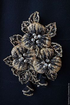 with bugle beads Tambour Beading, Tambour Embroidery, Couture Embroidery, Types Of Embroidery, Silk Ribbon Embroidery, Hand Embroidery Designs, Beaded Embroidery, Beaded Brooch, Beaded Jewelry