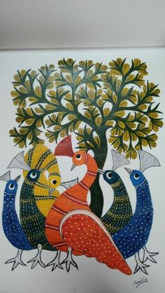 Gond art on coterise sheet use acrylic colour Canvas Painting Designs, Worli Painting, Kerala Mural Painting, Peacock Painting, Indian Art Paintings, Madhubani Art, Madhubani Painting, Flower Art Drawing, Mini Canvas Art