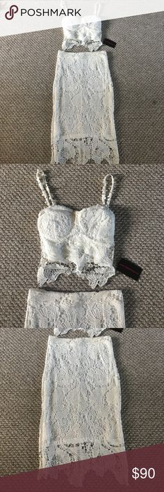 Kim kardashian inspired outfit size small Purchased for my engagement party and never ended up wearing it, purchased from Instagram boutique, NWT, NO TRADES or RETURNS!!! Size small and fits true to size. Would model but I purchased this before I got married and was 10 lbs lighter so it no longer fits  hot miami styles  Dresses Midi
