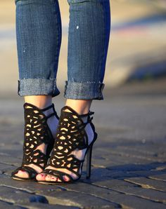 cuffed denim & fancy shoes