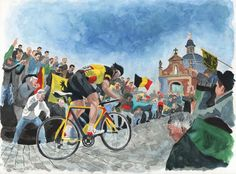 Original watercolor painting by Rachel Petruccillo of Tom Boonen climbing the Muur van Geraardsbergen in the Flanders area of Belgium during the Tour of Flanders (Ronde van Vlaanderen). #bicycles #cycling #cyclingart