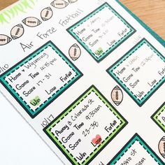 Planner insert created by Tiffany O'Grady using the Sweet Stamp Shop Basic Tabs and Play Ball stamp sets #sssplayball #sssbasictabs