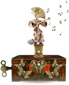 Asian Woman Playing the Mandolin Music Boxes Butterfly Music, Antique Music Box, Music Jewelry, Pretty Box, Objet D'art, Trinket Boxes, Vintage Toys, Snow Globes, Decorative Boxes