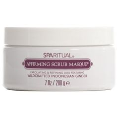 SPARITUAL Affirming Scrub Masque 7 oz. by SpaRitual. $26.00. SPARITUAL Affirming Scrub Masque gently exfoliates with wildcrafted indonesian ginger essential oil energizes the solar plexus chakra. This scrub and masque in one gently exfoliates and refines the skin for a more streamlined manicure, pedicure or body treatment. Micro-algae smoothes rough areas and sloughes off dead skin cells, preparing the skin to receive the benefits of Ginger. Naturally colored with annatto.. 7 oz.