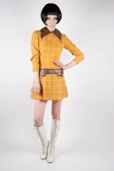 checkered wool vinyl mini shift dress