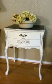 Sewing Machine Cabinet Repurposed Upcycled Furniture 25 Ideas For 2019 Upcycled Furniture, Shabby Chic Furniture, Painted Furniture, Furniture Ideas, Sewing Machine Tables, Old Sewing Machines, Sewing Tables, Manchester Tan, Sewing Cabinet