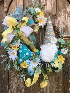 A personal favorite from my Etsy shop https://www.etsy.com/listing/493697440/spring-grapevine-garden-gnome-wreath