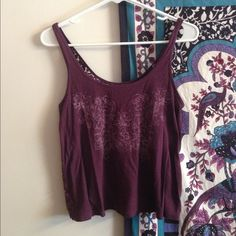 Purple American Eagle Tank Tank top from AEO with light purple floral design on front and see through lace back. Size small. American Eagle Outfitters Tops Tank Tops