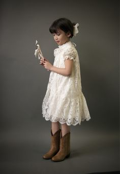 Victorian Lace Flower Girl Dress, Victorian Communion Dress, Ivory lace, vintage style