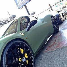 Matte Army Green Ferrari 458 Italia.