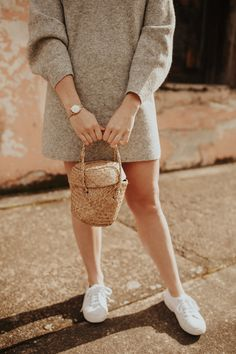 Spring Sweater Dress #style #basketbag #superga #fashionblog