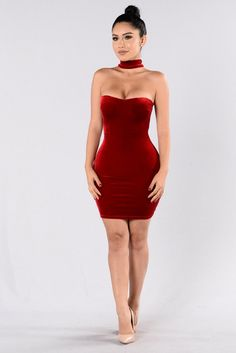 - Available in Black and Red - Velvet Choker Dress - Tube Style - Zipper Back - Knee Length - Lined - Made in USA - 90% Polyester 10% Spandex