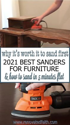 Sand furniture in less than 5 minutes with these low-cost sanders! Also explained is why it's so worth it to sand first. Here are reviews of the best sanders for wood furniture & other DIY projects. Also included is the best sander for refinishing cabinets. This palm sander is such a time saver and incredibly cheap! This post includes a wood sandpaper grit chart and explains how to sand wood with an electric sander. Sanding Furniture, Spray Paint Furniture, Sanding Wood, Furniture Repair, Diy Furniture Projects, Furniture Makeover, Painted Furniture, Diy Projects, Refinished Furniture