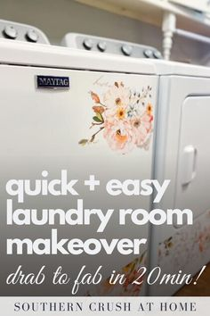 This quick and easy laundry room makeover will take your laundry room from drab to fab in 2o minutes or less! Grab this step-by-step DIY laundry room makeover tutorial today.  #laundryroom #makeover #diy Decorating Your Home, Decorating Ideas, Decor Ideas, Project Place, Painters Tape, Diy Home Decor Projects, Wooden Diy, Fixer Upper, Diy Tutorial