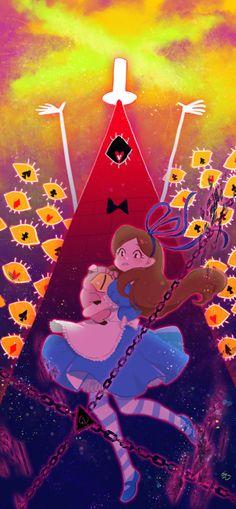 Mabel in wonderland. Gravity falls cross over with Alice in wonderland Anime Gravity Falls, Gravity Falls Bill, Dipper And Mabel, Mabel Pines, Dipper Pines, Geeks, Grabity Falls, Mabill, Desenhos Gravity Falls