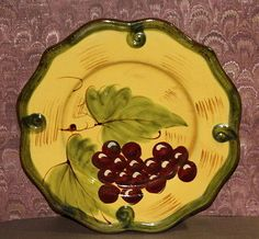Home-Accents-Wine-Grape-Motif-Salad-Plate-Microwave-Dishwasher-Safe
