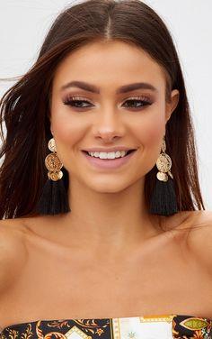 Black Coin Drop Tassel Earrings