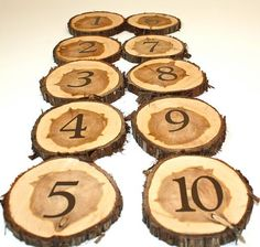 Set of 10 Table Numbers wood slice cedar tree by tricia16designs, $10.00