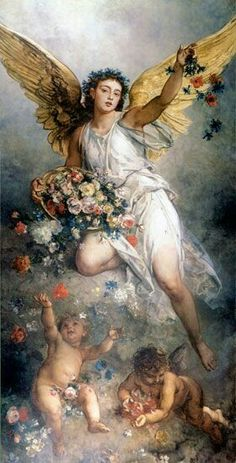 """Der Frieden (Eirene)""/ ""Peace"", by Ludwig Knaus Oil on canvas… Desenhos Tim Burton, Renaissance Kunst, I Believe In Angels, Ange Demon, Angels Among Us, Angels In Heaven, Heavenly Angels, Ludwig, Guardian Angels"