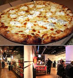 'Secret Pizza' - Cosmopolitan, LV. Not signposted or advertised but it's on the 3rd flr, between Blue Ribbon and Jaleo restauraunts. Look for a pinball machine at the end of a long corridor covered in vinyl records. Its quite tiny, with few seats inside, but right outside is a lounging area with pool tables and couch seating.